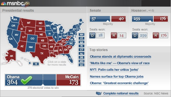 Election Map on MSNBC